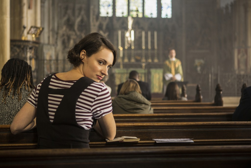 """This image released by Amazon Studios shows Phoebe Waller-Bridge in """"Fleabag."""" The program is nominated for a Golden Globe for best comedy series. (Am..."""