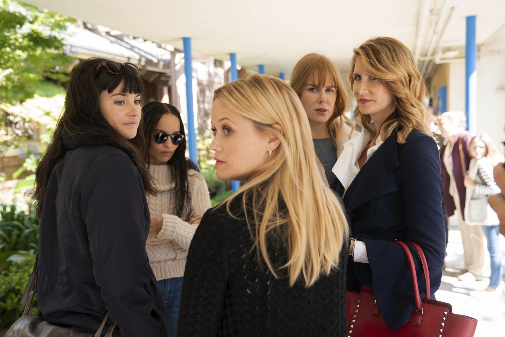 """This image released by HBO shows, from left, Shailene Woodley, Zoë Kravitz, Reese Witherspoon, Nicole Kidman and Laura Dern in a scene from """"Bid Littl..."""