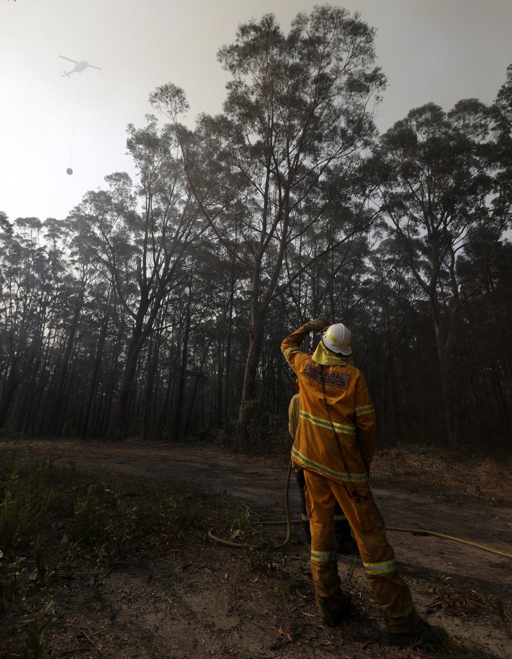 A firefighter watches a water bombing helicopter approach as they battle a fire near Bendalong, Australia, Friday, Jan. 3, 2020. Navy ships plucked hu...