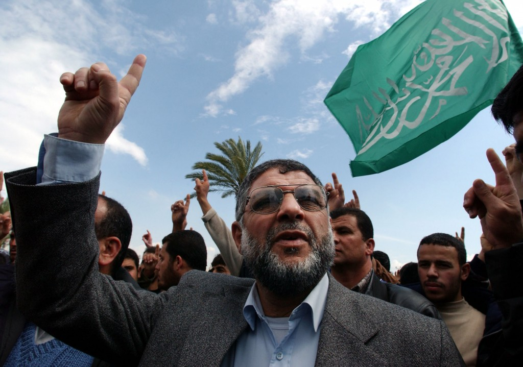 FILE - In this March 29, 2002 file photo, Hamas militant group leader, Abdel Aziz Al Rantissi, attends a demonstration to support Palestinian leader Y...