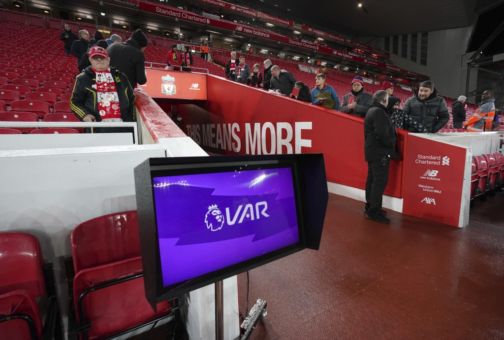 A VAR (Video assistant referee) monitor pitch side before the English Premier League soccer match between Liverpool and Sheffield United at Anfield St...