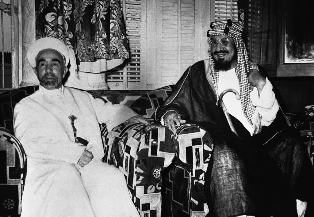 FILE - In this June 30, 1948 file photo, King Abdullah of Jordan, left, and his host, King of Saudi Arabia Abdul Aziz Ibn Saud, are  photographed toge...