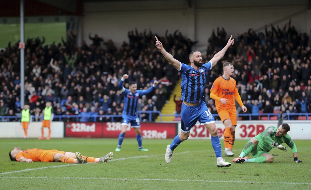 Rochdale's Aaron Wilbraham celebrates scoring his side's first goal of the game during the English FA Cup third round soccer match between Rochdale an...