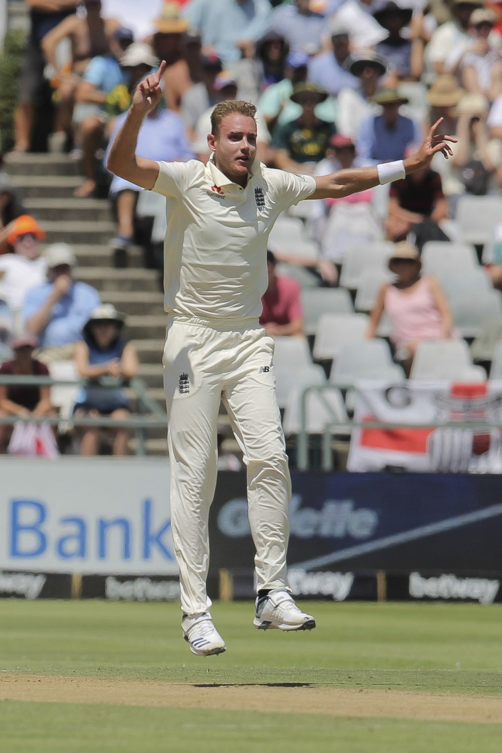 England fast bowler Stuart Broad celebrates the wicket of Pieter Malan during day two of the second cricket test between South Africa and England at t...