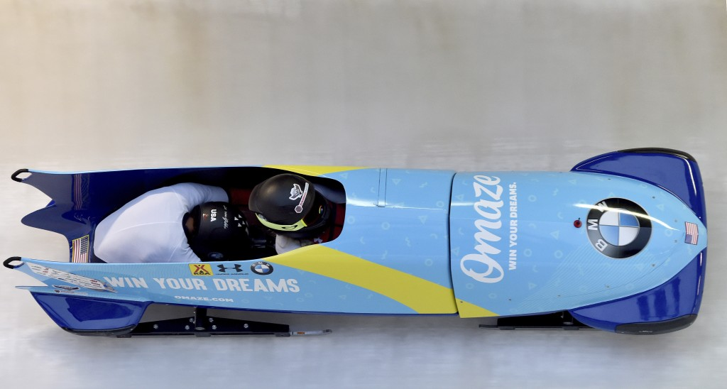 The team from the United States with Kaillie Humphries and Lauren Gibbs competes in the women's bob world cup in Winterberg, Germany, Saturday, Jan.4,...