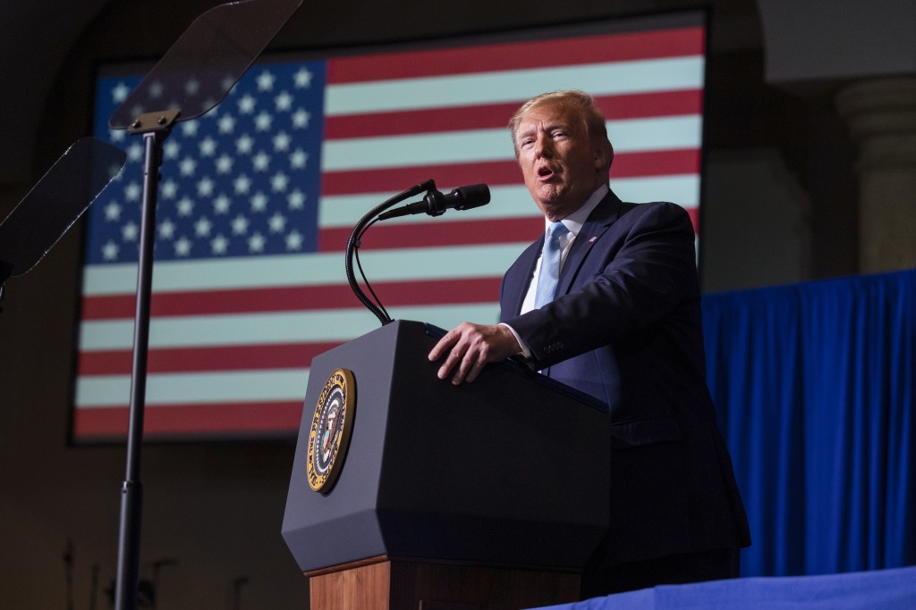 """President Donald Trump speaks during an """"Evangelicals for Trump Coalition Launch"""" at King Jesus International Ministry, Friday, Jan. 3, 2020, in Miami..."""