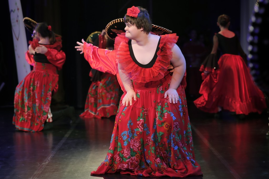 In this Dec. 3, 2019, photograph children with Down syndrome perform in a dance show, in Bucharest, Romania. Children with Down syndrome staged a fash...
