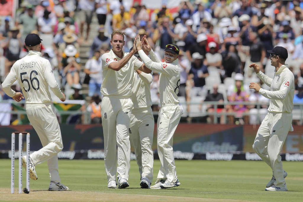 England celebrates the wicket of South African batsman Pieter Malan during day two of the second cricket test between South Africa and England at the ...