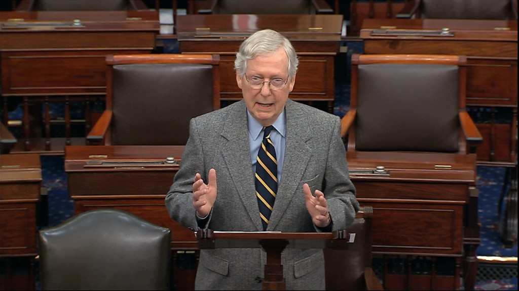 Senate Majority Leader Mitch McConnell of Ky., speaks on the Senate floor, Friday, Jan. 3, 2020 at the Capitol in Washington. (Senate TV via AP)