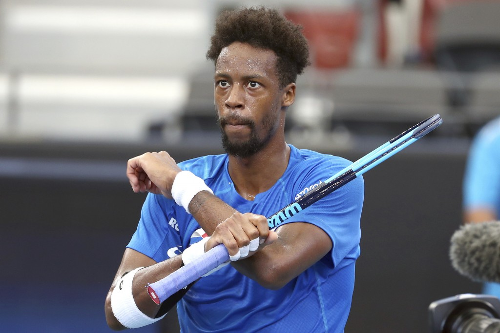 Gael Monfils of France reacts after winning his match against Cristian Garin of Chile 6-3, 7-5, at the ATP Cup tennis tournament in Brisbane, Australi...