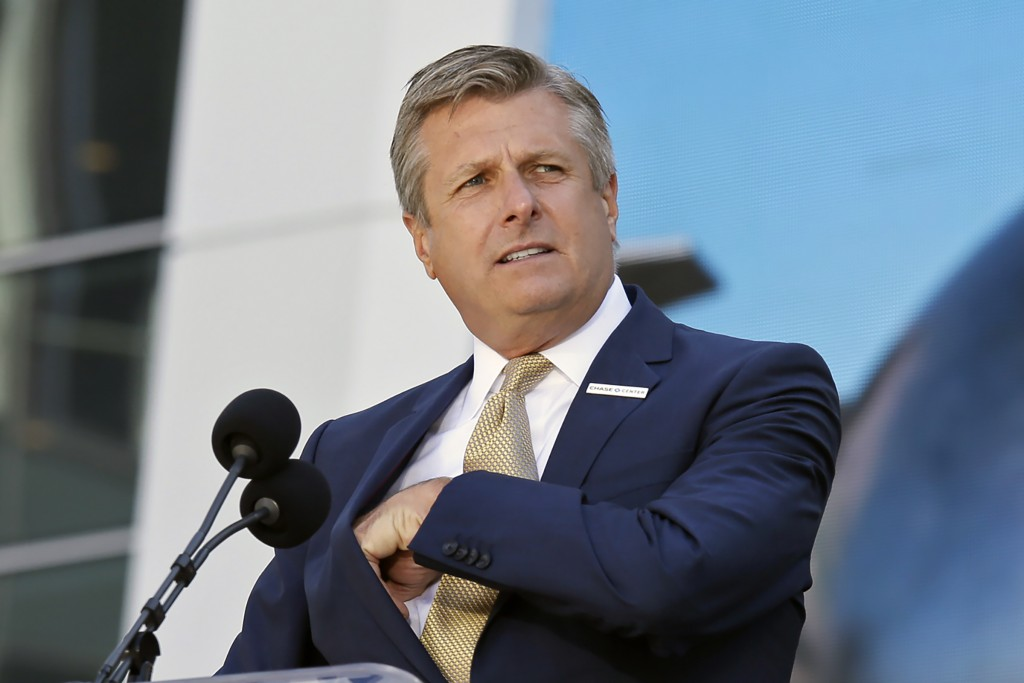 FILE - In this Sept. 3, 2019, file photo, Golden State Warriors COO and President Rick Welts is shown during the ribbon cutting ceremony of the Chase ...