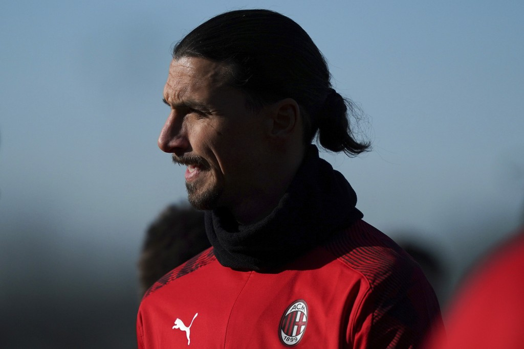 Zlatan Ibrahimovic trains in Carnago, near Milan, Italy, Saturday, Jan. 3, 2020.  The 38-year-old striker signed a deal with AC Milan until the end of...