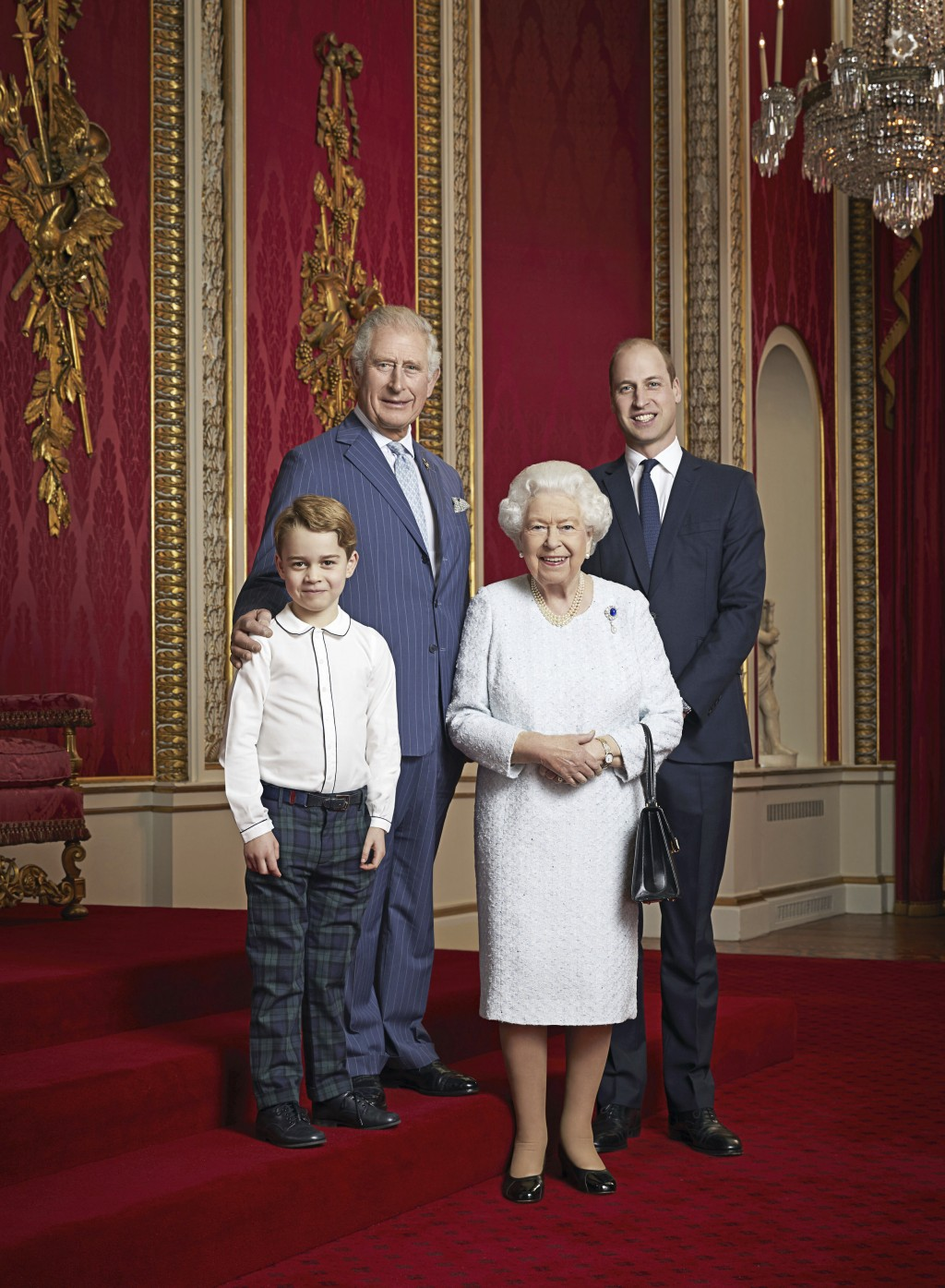 In this handout photo provided by Buckingham Palace and taken Wednesday Dec. 18, 2019, Britain's Queen Elizabeth, Prince Charles, Prince William and P...
