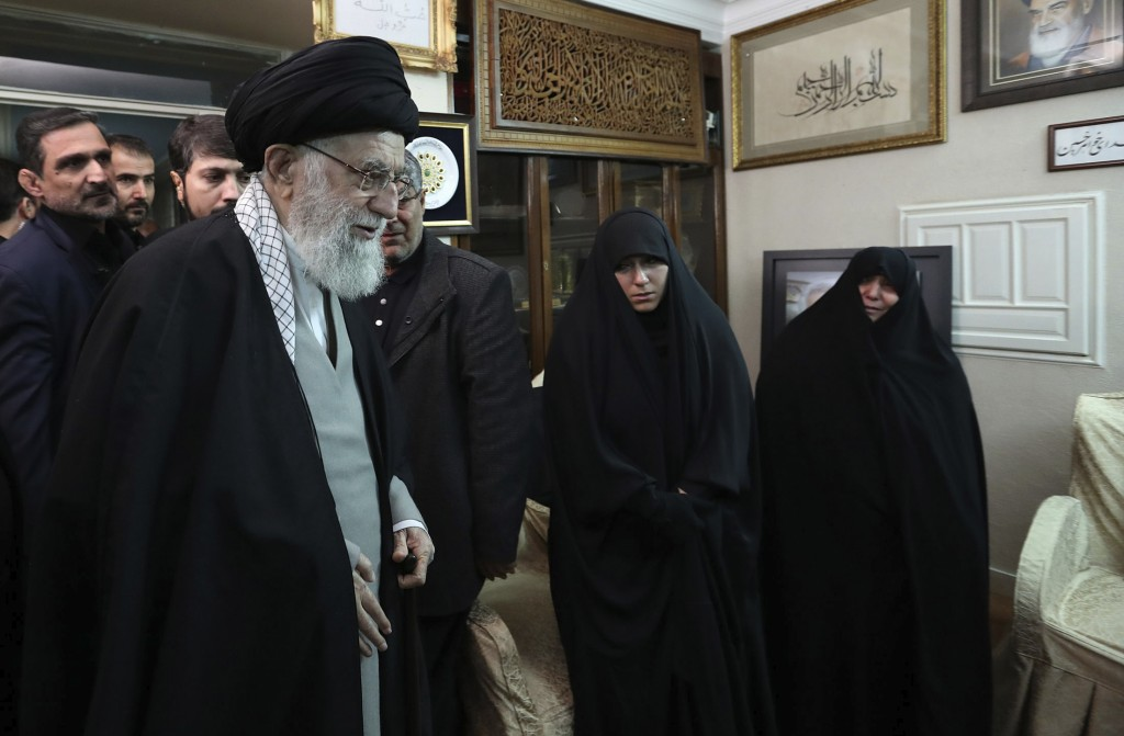 In this picture released by the official website of the office of the Iranian supreme leader, Supreme Leader Ayatollah Ali Khamenei meets family of Ir...