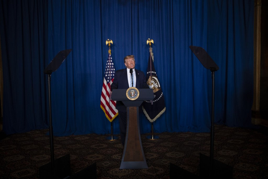 President Donald Trump delivers remarks on Iran, at his Mar-a-Lago property, Friday, Jan. 3, 2020, in Palm Beach, Fla. (AP Photo/ Evan Vucci)