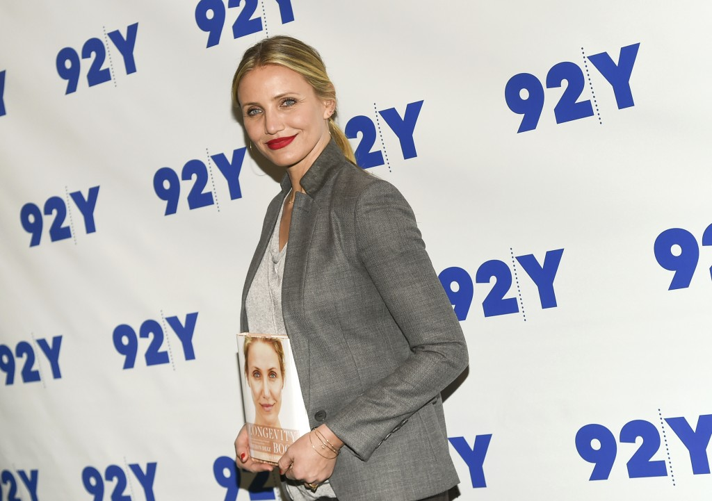 FILE - In this April 5, 2016, file photo, Actress Cameron Diaz arrives for her 92Y In Conversation with Rachael Ray in New York. Diaz is starting the ...