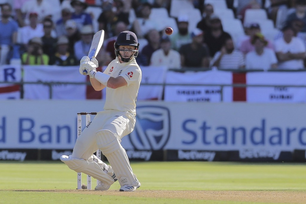England's batsman Ollie Pope lines up the ball during day one of the second cricket test between South Africa and England at the Newlands Cricket Stad...