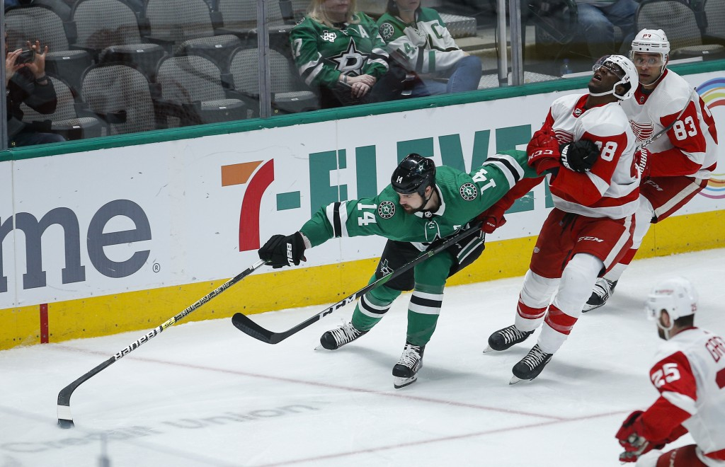 Dallas Stars forward Jamie Benn (14) battles Detroit Red Wings' Givani Smith (48) for space during the third period of an NHL hockey game Friday, Jan....