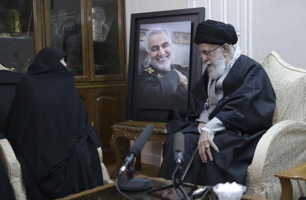 In this picture released by the official website of the office of the Iranian supreme leader, Supreme Leader Ayatollah Ali Khamenei, right, meets fami...