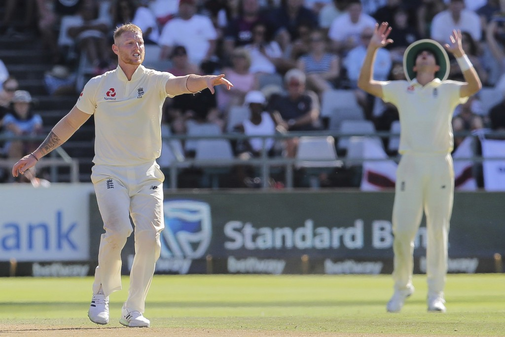 England bowler Ben stokes in action during day two of the second cricket test between South Africa and England at the Newlands Cricket Stadium in Cape...