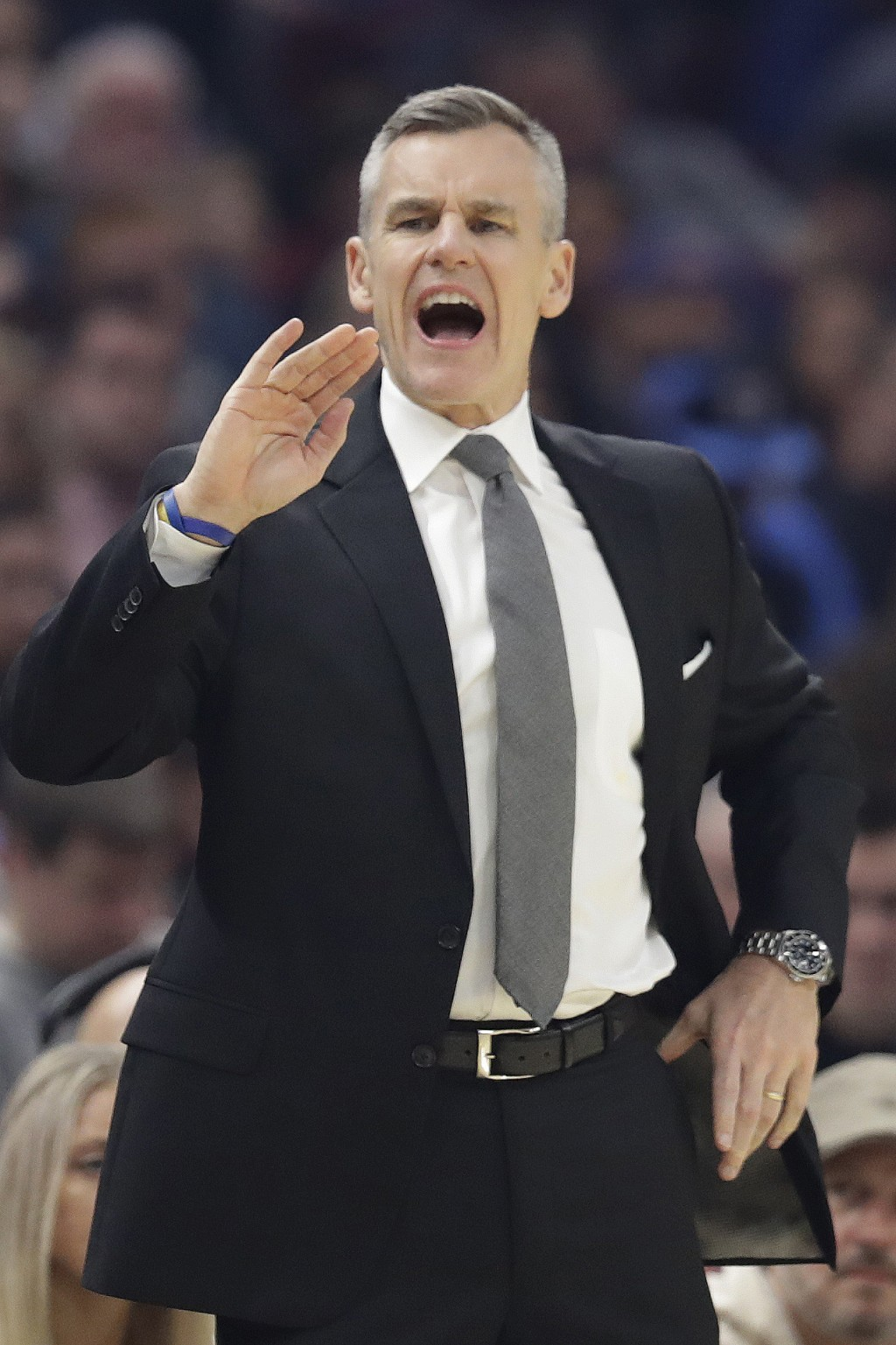 Oklahoma City Thunder head coach Billy Donovan yells instructions to players in the first half of an NBA basketball game against the Cleveland Cavalie...