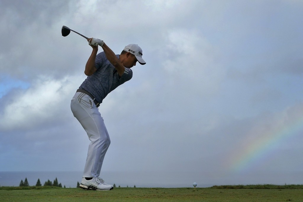 Collin Morikawa hits from the first tee during third round of the Tournament of Champions golf event, Saturday, Jan. 4, 2020, at Kapalua Plantation Co...
