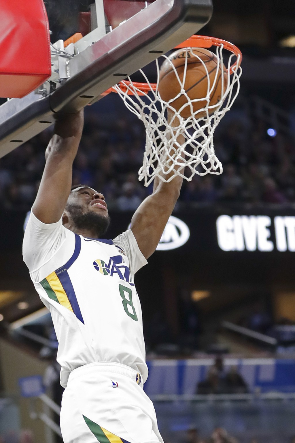 Utah Jazz guard Emmanuel Mudiay dunks the ball during the second half of an NBA basketball game against the Orlando Magic, Saturday, Jan. 4, 2020, in ...