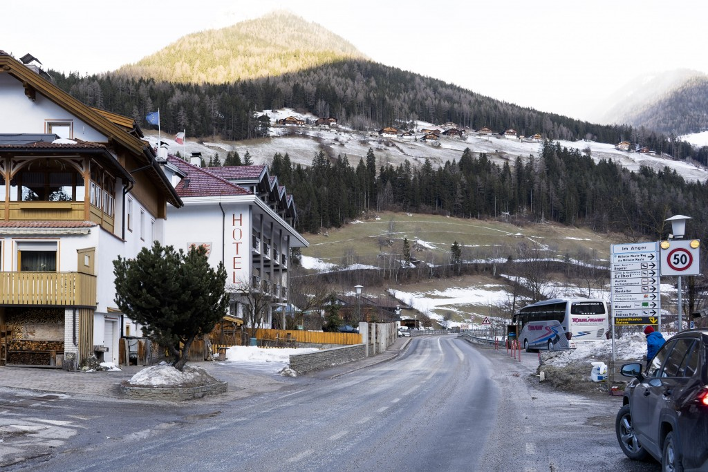 General view on a street where a car had plowed into a group of people in Luttach, near Bruneck in the northern region South Tirol, Italy, Sunday, Ger...