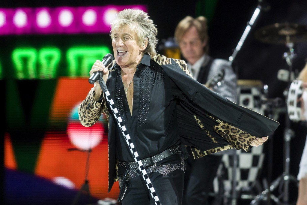 FILE - In this Jan. 29, 2018, file photo, British rock singer Rod Stewart performs during his concert in Papp Laszlo Sports Arena in Budapest, Hungary...