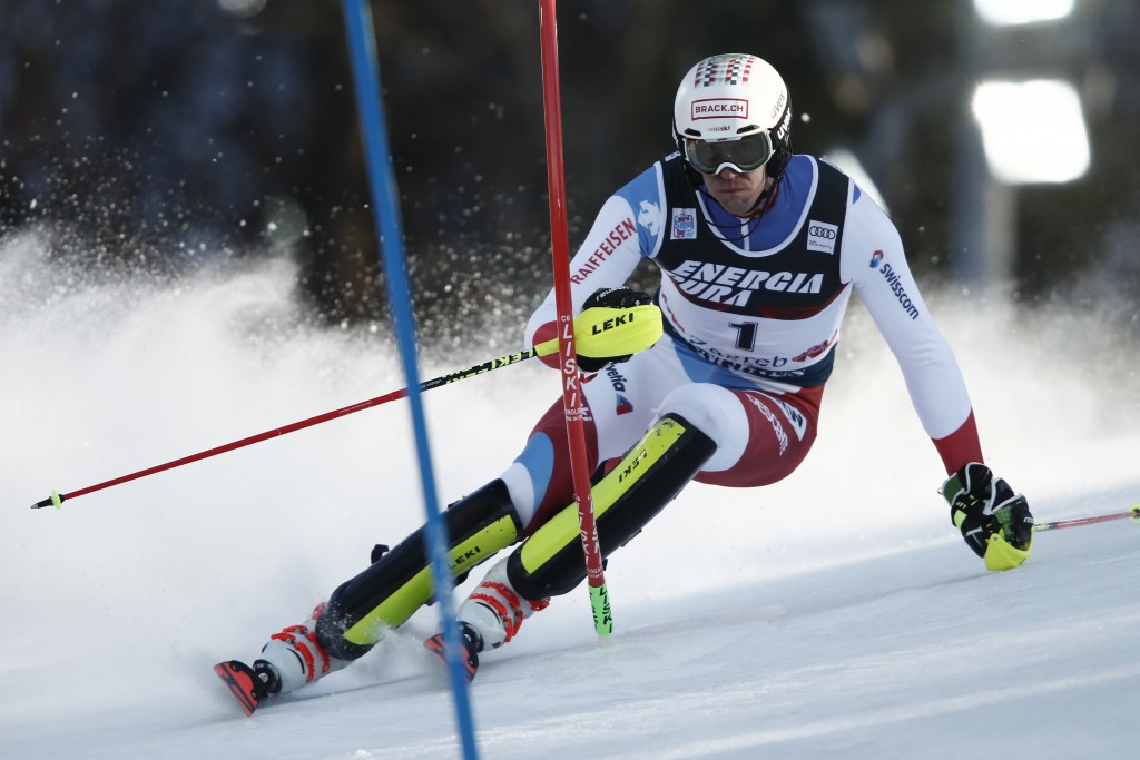 Switzerland's Ramon Zenhaeusern competes during an alpine ski, men's World Cup slalom in Zagreb, Croatia, Sunday, Jan. 5, 2020. (AP Photo/Gabriele Fac...