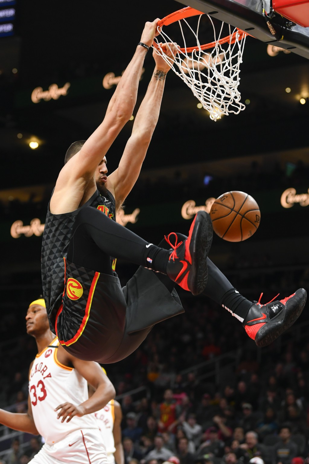Atlanta Hawks center Alex Len dunks during the first half of an NBA basketball game against the Indiana Pacers, Saturday, Jan. 4, 2020, in Atlanta. (A...