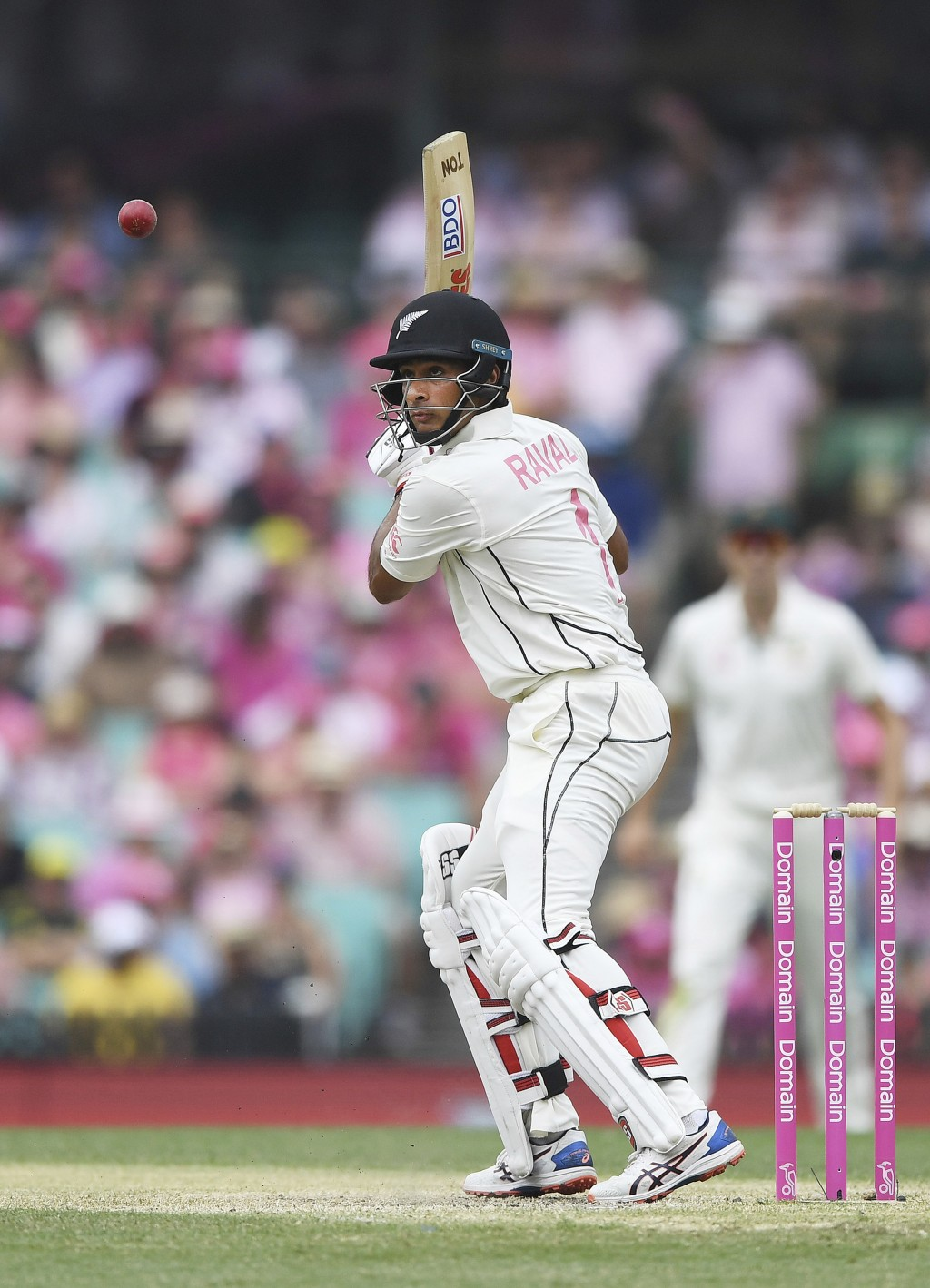New Zealand's Jeet Raval bats on day three of the third cricket test match between Australia and New Zealand at the Sydney Cricket Ground in Sydney Su...