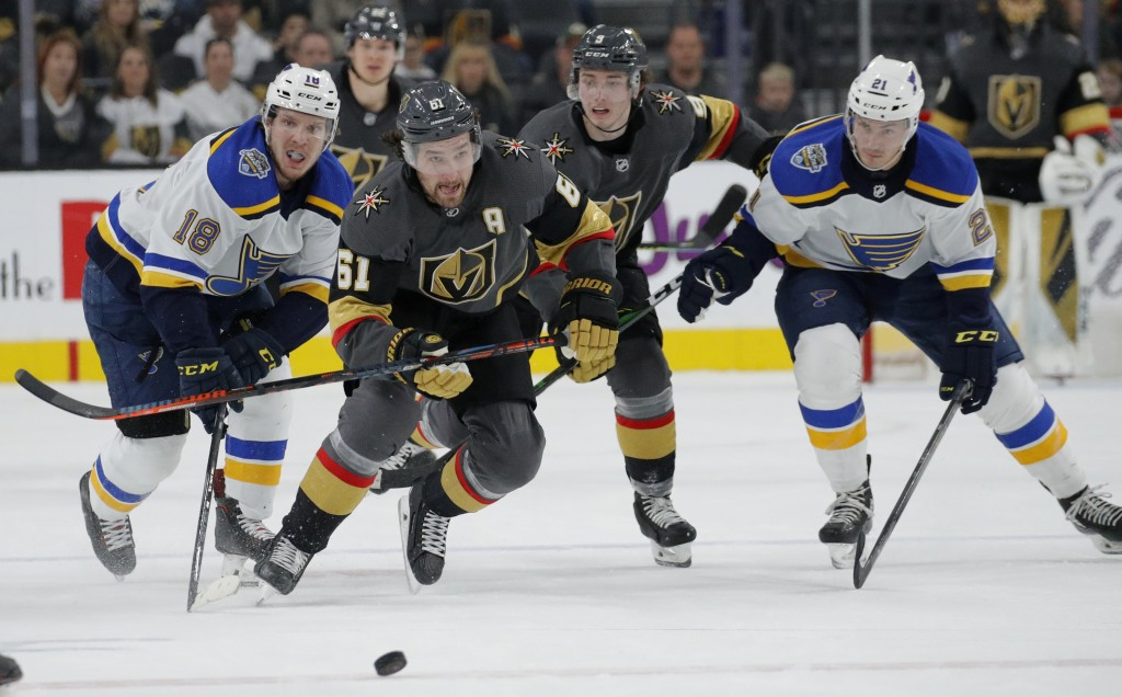 Vegas Golden Knights right wing Mark Stone (61) skates upice against the St. Louis Blues during the second period of an NHL hockey game Saturday, Jan....