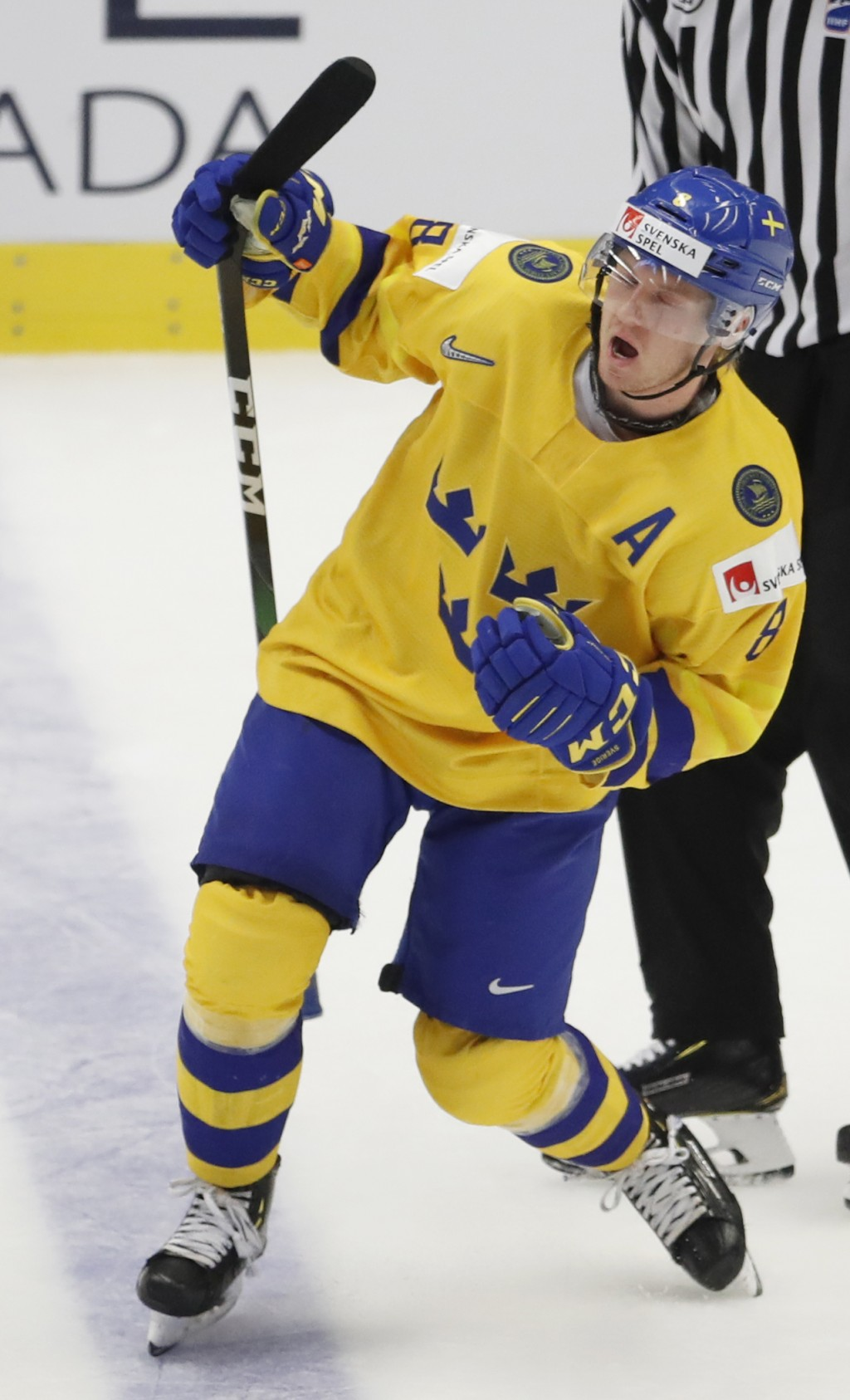 Sweden's Rasmus Sandin celebrates after scoring his sides first goal during the U20 Ice Hockey Worlds bronze medal match between Finland and Sweden in...