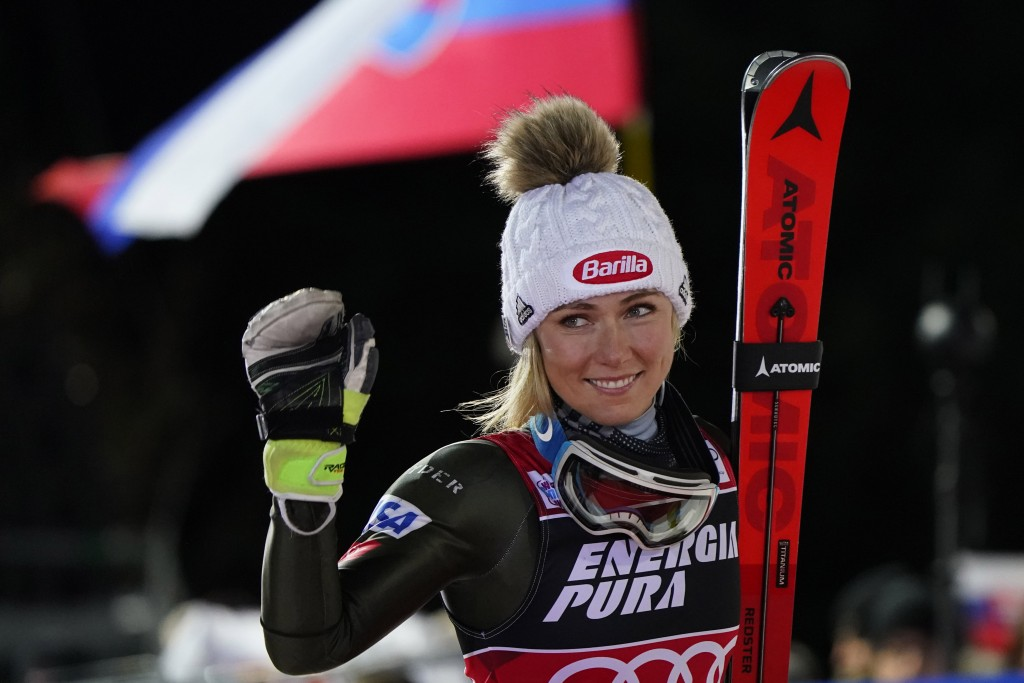 United States' Mikaela Shiffrin walks to the podium after taking second place in an alpine ski, women's World Cup slalom in Zagreb, Croatia, Saturday,...