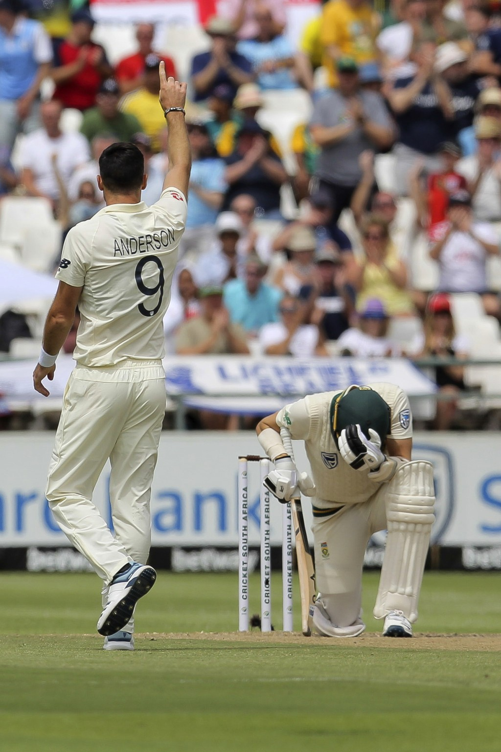 England bowler Jimmy Anderson celebrates while South African batsman Anrich Nortje holds his head in disbelief tduring day three of the second cricket...