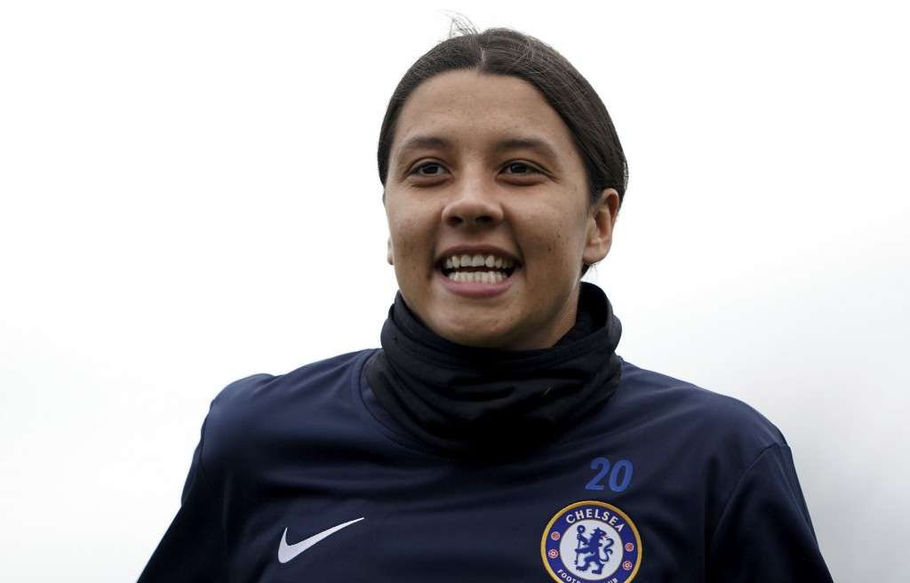 Chelsea's Samantha Kerr warms up ahead of the FA Women's Super League match against Reading at The Cherry Red Records Stadium, London, Sunday Jan. 5, ...