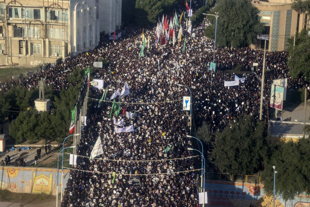 An aerial view shows mourners attending a funeral ceremony for Gen. Qassem Soleimani and his comrades, who were killed in Iraq in a U.S. drone strike,...