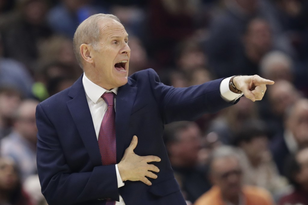 Cleveland Cavaliers head coach John Beilein yells instructions to players in the first half of an NBA basketball game against the Oklahoma City Thunde...