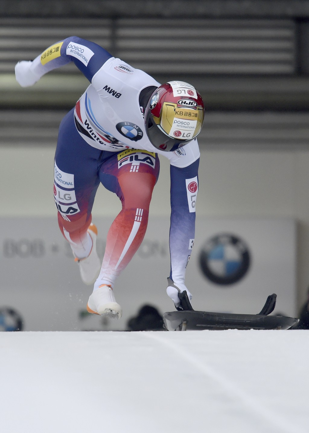 Yun Sung Bin from South Korea at the start of the ice channel in the first run of the men's Skeleton world cup in Winterberg, Germany, Sunday, Jan.5, ...