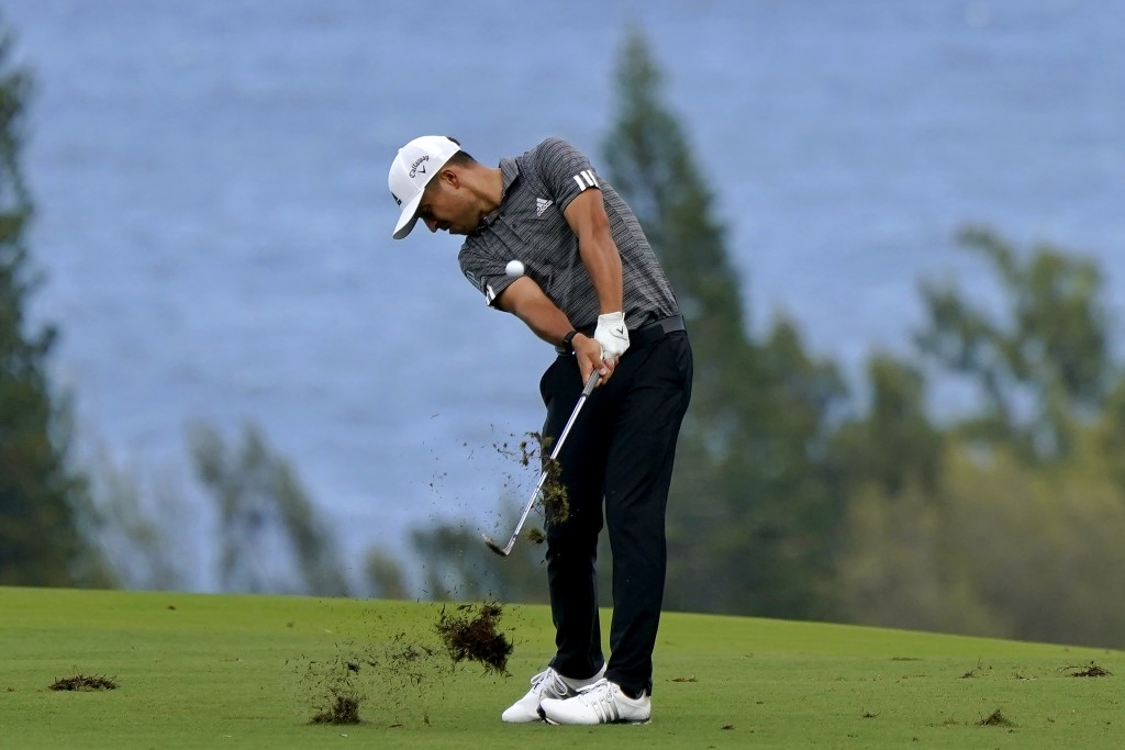 Xander Schauffele hits from the fourth fairway during third round of the Tournament of Champions golf event, Saturday, Jan. 4, 2020, at Kapalua Planta...