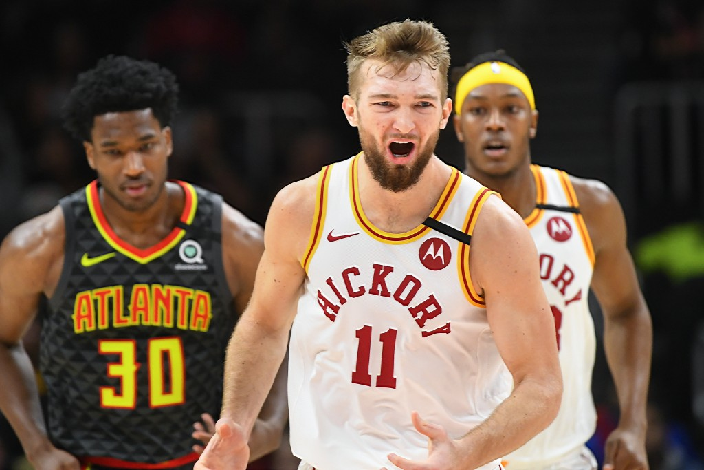 Indiana Pacers forward Domantas Sabonis (11) reacts after scoring during the first half of an NBA basketball game against the Atlanta Hawks, Saturday,...