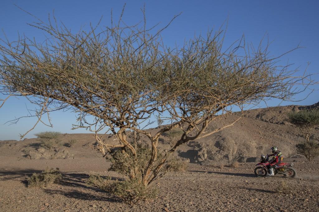 Joan Barreda of Spain rides his Honda motorbike during stage two of the Dakar Rally, between Al Wajh and Neom, Saudi Arabia, Monday, Jan. 6, 2020. (AP...