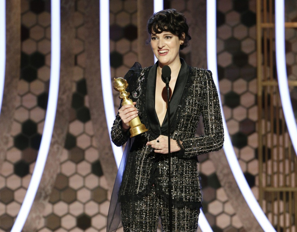"""This image released by NBC shows Phoebe Waller-Bridge accepting the award for best actress in a comedy series for """"Fleabag"""" at the 77th Annual Golden ..."""