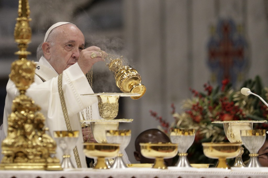 Pope Francis celebrates an Epiphany Mass in St. Peter's Basilica at the Vatican, Monday, Jan. 6, 2020. (AP Photo/Andrew Medichini)