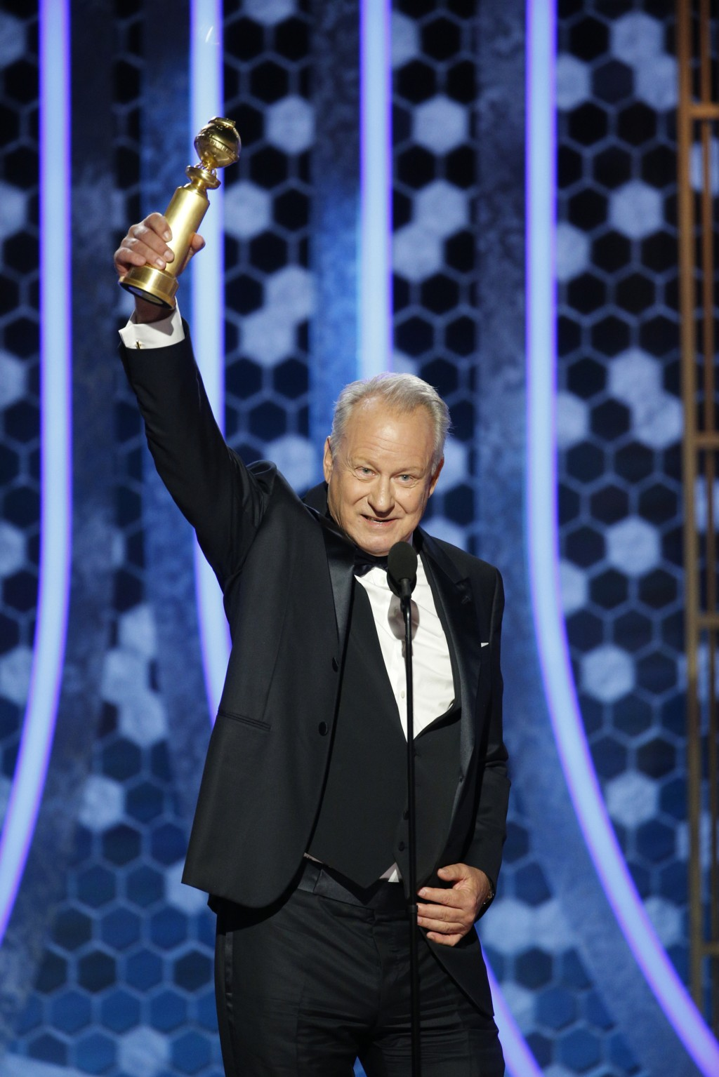 """This image released by NBC shows Stellan Skarsgård accepting the award for best supporting actor in a TV series, limited series or TV movie for """"Chern..."""