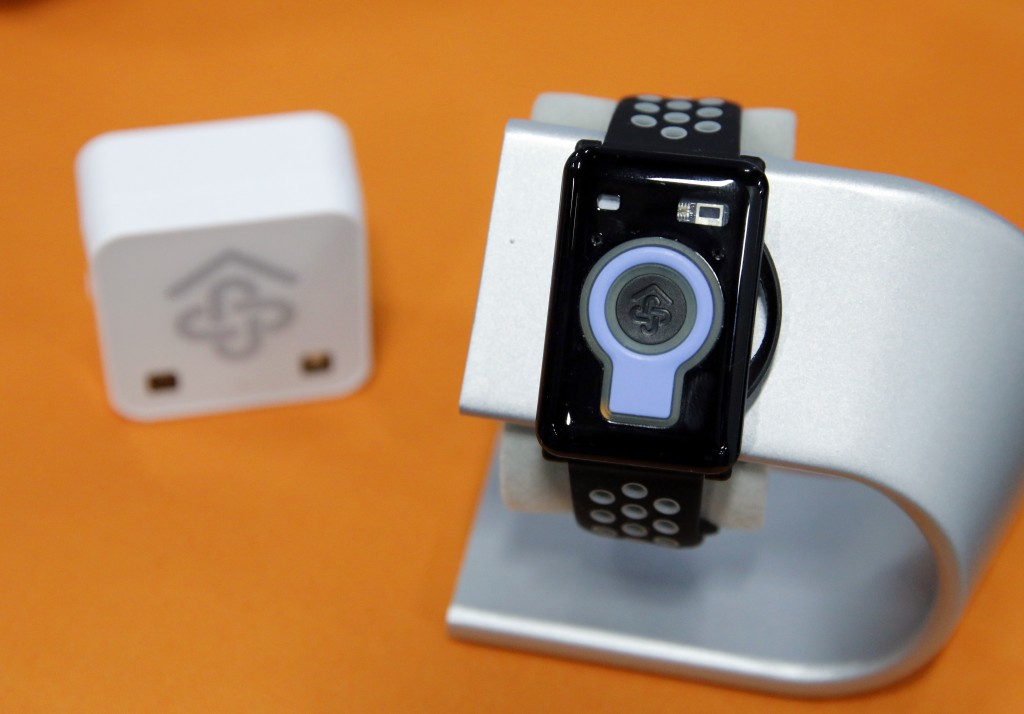 The CarePredict Tempo Series 3 appears on display at the CarePredict booth during CES Unveiled before CES International, Sunday, Jan. 5, 2020, in Las ...