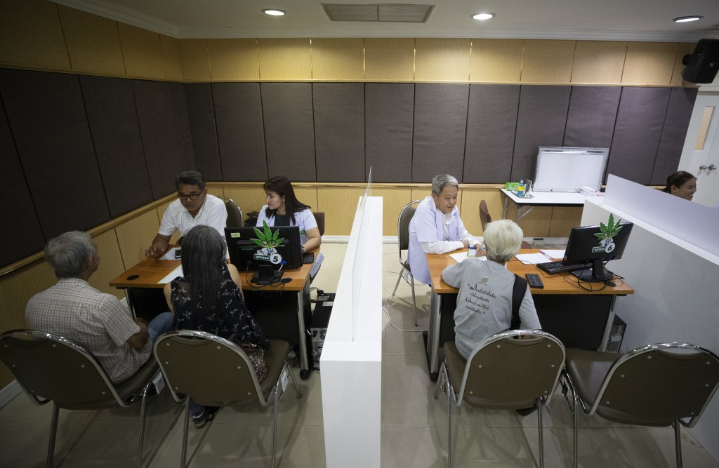 Patients consult with medical professionals at the first full-time clinic prescribing cannabis oil for medical treatment in the Public Health Ministry...