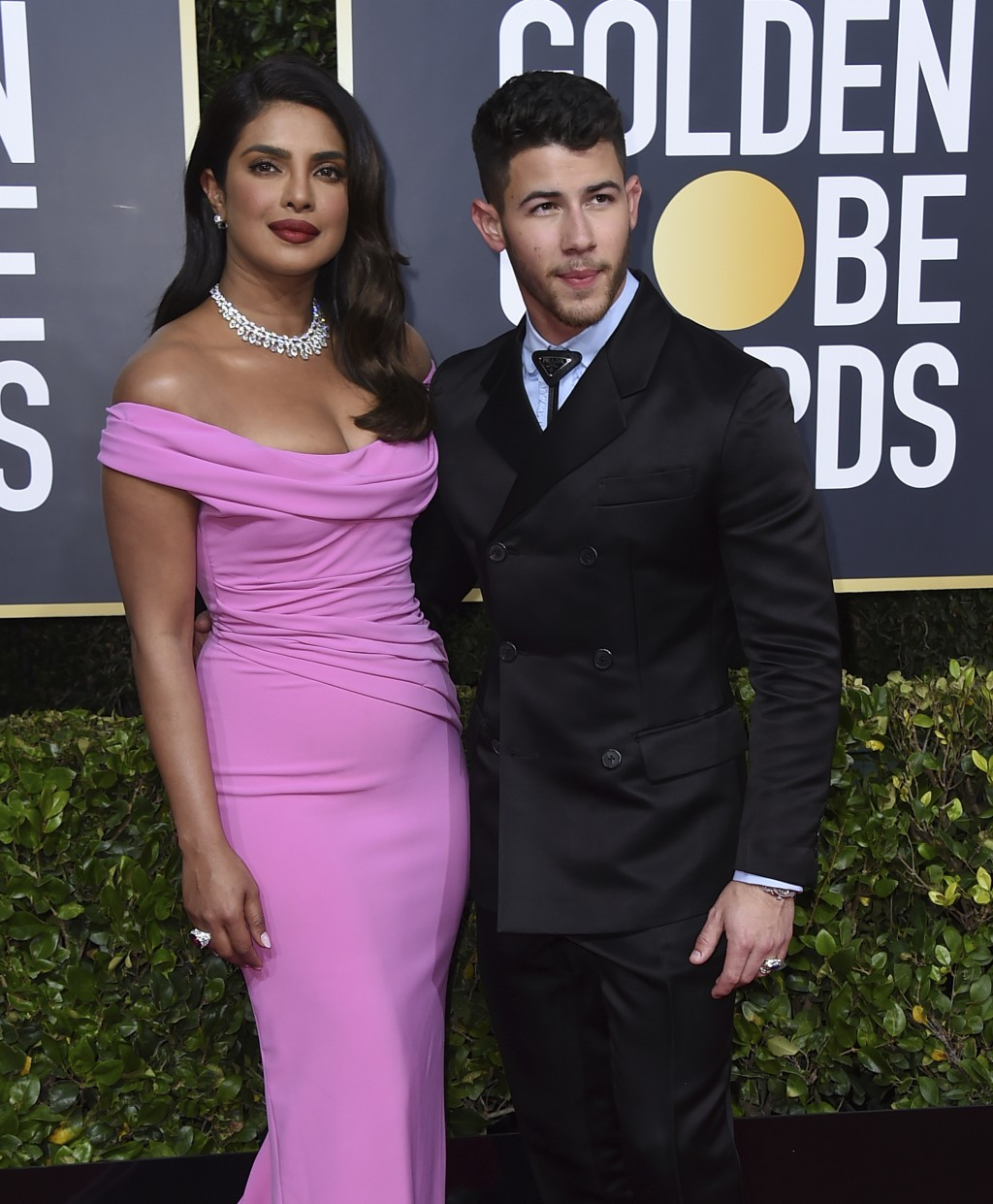 Priyanka Chopra, left, and Nick Jonas arrive at the 77th annual Golden Globe Awards at the Beverly Hilton Hotel on Sunday, Jan. 5, 2020, in Beverly Hi...