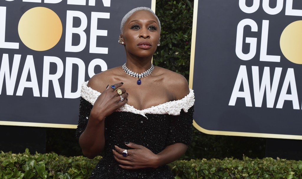 Cynthia Erivo arrives at the 77th annual Golden Globe Awards at the Beverly Hilton Hotel on Sunday, Jan. 5, 2020, in Beverly Hills, Calif. (Photo by J...